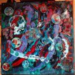 Alain Rothstein Du côté de Guermantes, 2017, technique mixte et collage sur toile, 60X60 cm.
