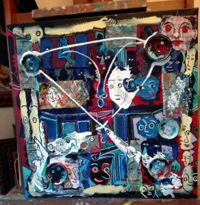 Alain Rothstein GRAND SALON, 2017, technique mixte et collage, 50x50 cm : 5'000 euros.