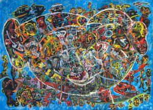 Alain Rothstein GRANDE FACE BLEUE, 2013, huile sur toile, 220x300cm : (coll. Privée).