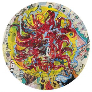 Alain Rothstein et Vincenzo Giuliano, La Meduse - Chapelle Saint-Glé, 2008, technique mixte sur bois, diamètre 106 cm : 5'000 euros