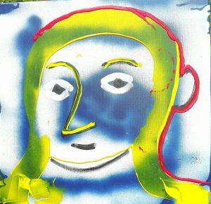 Alain Rothstein Tête jaune et bleu, 2016, Technique mixte sur toile, 45x45cm : 5'000 euros.