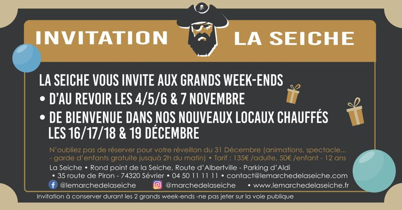 week-ends de fête de la Seiche. 4-6 novembre et 16 - 19 décembre à l'occasion du déménagement de la Seiche dans ses nouveaux locaux.