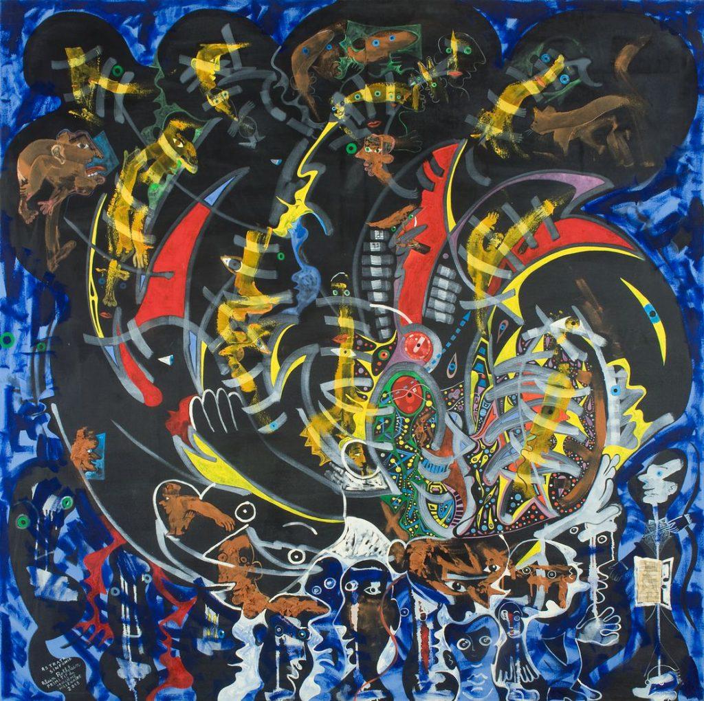 Alain Rothstein ASTRATA SYMPHONIA, PRIMITIF DU 3E MILLÉNAIRE, hommage à Dutilleux, 2013, huile sur toile, 150x150cm
