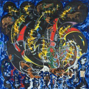 Alain Rothstein ASTRATA SYMPHONIA, PRIMITIF DU 3E MILLÉNAIRE, hommage à Dutilleux, 2013, huile sur toile, 150x150cm : 16'000 euros