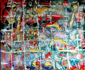 Alain Rothstein CONNECTEZ-VOUS LES UNS LES AUTRES, 2015, huile sur toile, 100×81 cm : 10'000 euros.