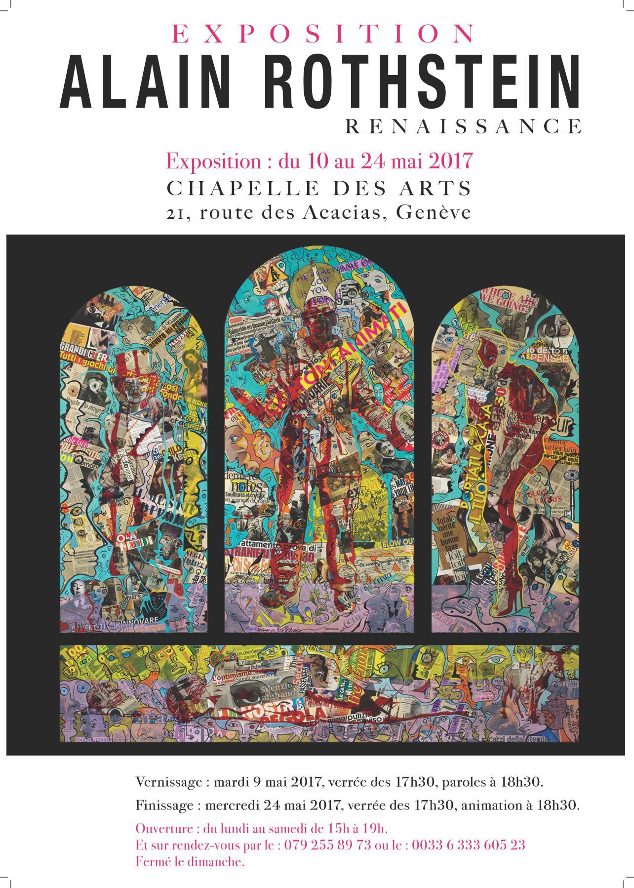 Exposition Alain Rothstein Chapelle des Arts, Genève : 10 au 24 mai 2017