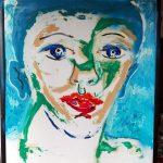 Alain Rothstein figure bleu et verte, 2016, huile sur papier, 82x61 cm : 7'000 euros.