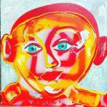Alain Rothstein Figure Rouge, 2016, technique mixte sur toile, 45x45cm