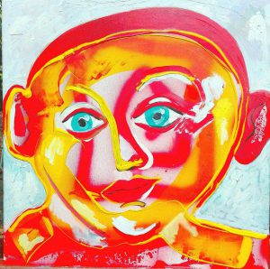 Alain Rothstein Figure Rouge, 2016, technique mixte sur toile, 45x45cm : 5'000 euros.