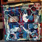 Alain Rothstein GRAND SALON, 2017, technique mixte et collage, 50x50 cm.