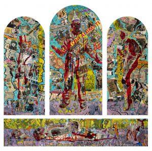 Alain Rothstein et Vincenzo Giuliano, IL TRITTICO DEL SANTO GLE OVVEROSSIA - Chapelle Saint-Glé, technique mixte sur bois, 214 x 214cm : 30'000 euros.