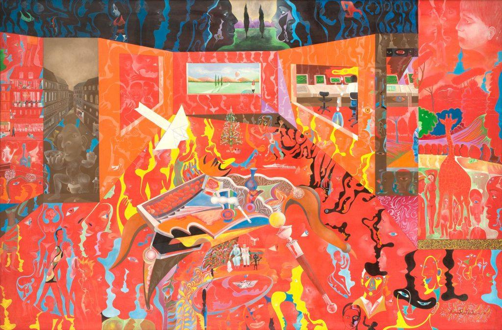 Alain Rothstein LE MYSTÈRE DE LA CHAMBRE ROUGE, 2004, huile sur toile, 130x195cm : 32'500 euros.