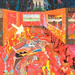 Alain Rothstein LE MYSTÈRE DE LA CHAMBRE ROUGE, 2004, huile sur toile, 130x195cm