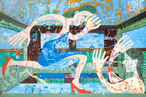 Alain Rothstein PISCINE LE BAIN, 2013, huile sur toile, 130x195cm : 22'000 euros.