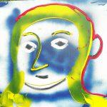 Alain Rothstein Tête jaune et bleu, 2016, Technique mixte sur toile, 45x45cm