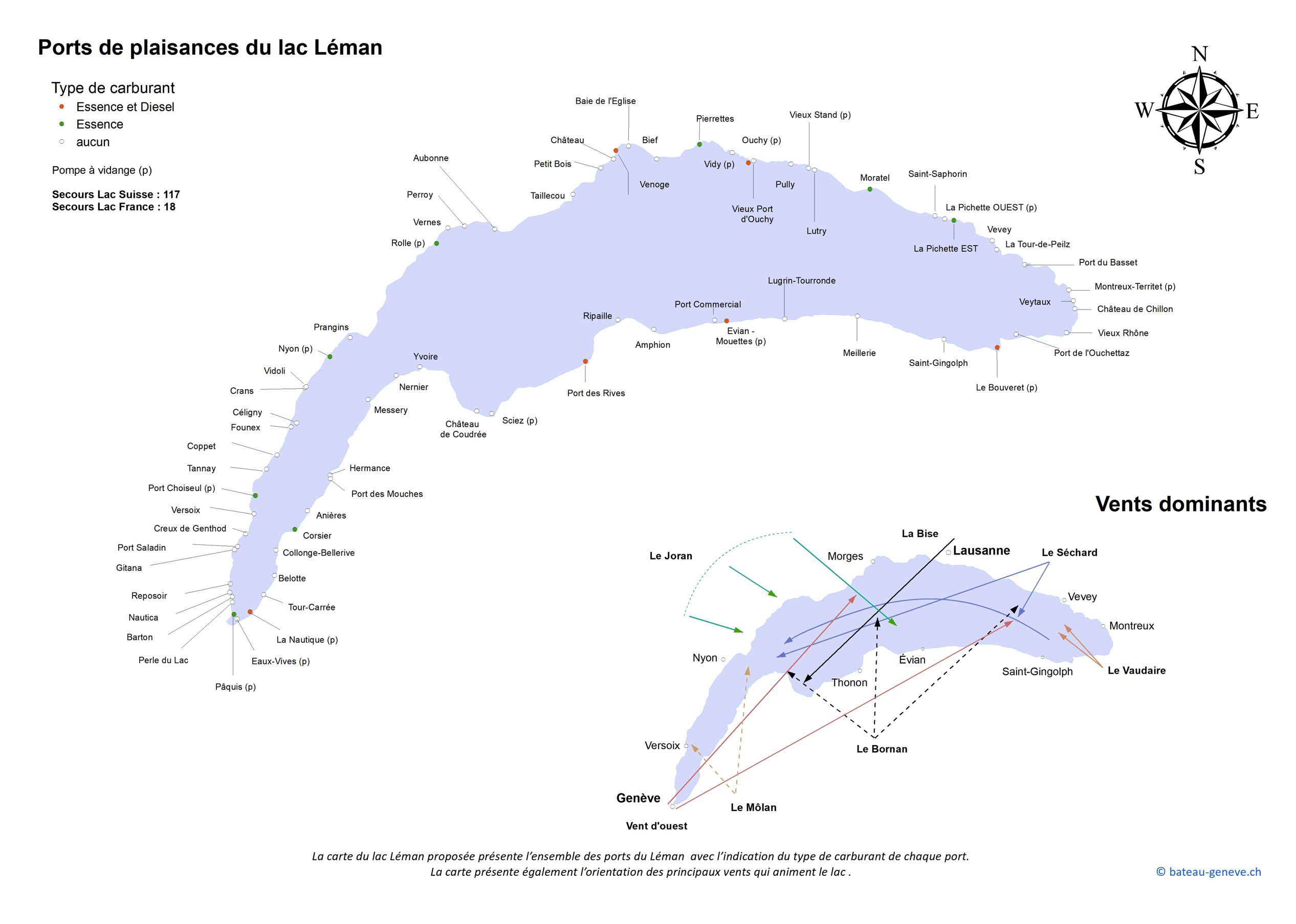 La carte des ports et des vents du lac Léman
