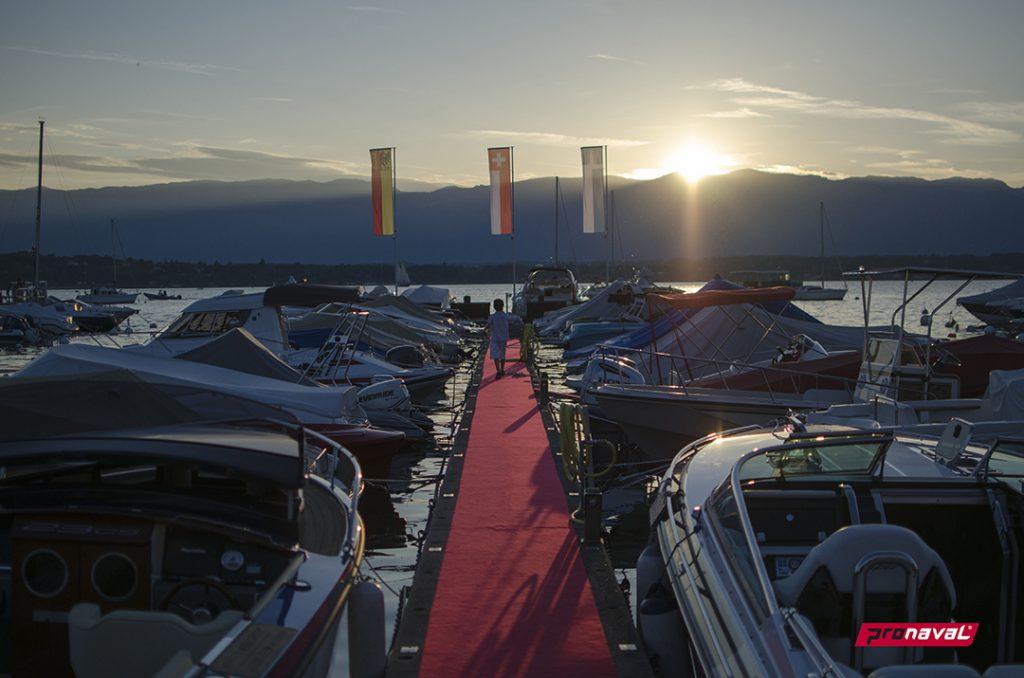 Port et marina de la Belotte. Nautisme et bar-terrasse. Cologny, Genève.