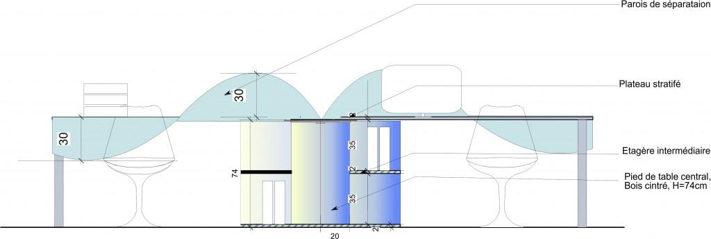 La table hélice, un projet de mobilier de bureau pour le siège du groupe Simon Genève par Luc Simon (designer) et Emma Buffat (architecte).