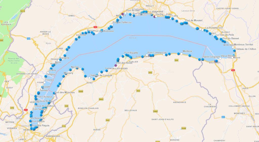 Appli Carto Léman : carte des plages et des ports du lac Léman. Ports avec stations et type de carburant, plages, coordonnées gps.